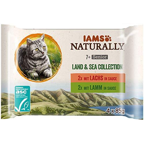 IAMS Naturally Katzenfutter Nass in Sauce, hochwertiges Nassfutter mit Fleisch und Fisch für Senior Katzen, Land & Sea Collection, 4 x 85 g