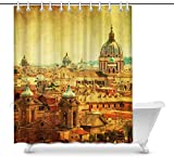 Cortina de baño Vintage European Cityscape View of Old Town in Rome Italy House Decor Shower Curtain for Bathroom, Decorative Fabric Cortina de baño Set with Rings, 60(Wide) x 72(Height) Inches