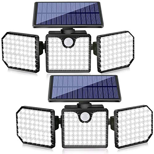 Solar Security Lights, 3 Head Motion Sensor Lights Adjustable 230LED Flood Lights Outdoor Spotlights 360° Rotatable IP65 Waterproof for Porch Garden Patio Yard Garage Pathway, 2 Pack
