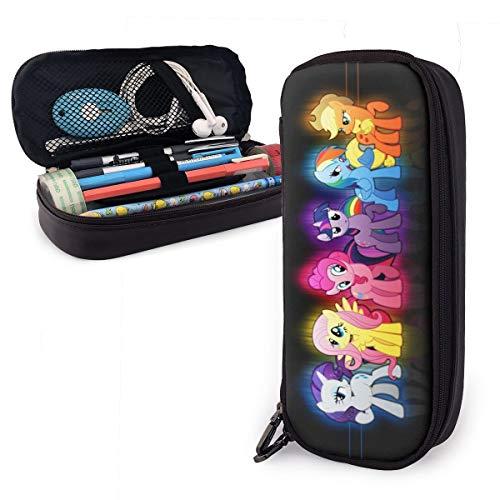 Cartoon Anime My Little Pony Federmäppchen für Erwachsene und Studenten Buggy Tasche Reißverschluss Leder Stifteetui Make-up-Tasche für Bleistifte Stifte Marker