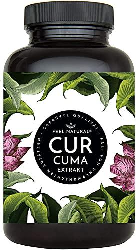 Curcuma Extrakt von FEEL NATURAL - (90 Kapseln) - laborgeprüft, vegan, hochdosiert, ohne unerwünschte Zusätze in Deutschland produziert
