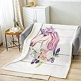 HTOUR Bunte Baumdecke Dreamy Woodland Fleece Decke für Kinder Jungen Mädchen Four Seasons Tree Fuzzy Decke für Schlafsofa Blau GreeDouble 60x79 Zoll