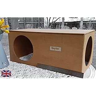 Hop Inn' Indoor Outdoor Rabbit House Hideout Cat House Hideaway LARGE 61 cm Long x 30.5 cm Wide x 25.5 cm High (Light Oak) Wood Hand Made and Built to Last (Made at in the UK):Qukualian