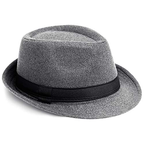 PORSYOND Filz-Hut für Herren und Damen, Gürtel, Panama-Jazz-Hut, Trilby-Hut mit Band - - Einheitsgröße