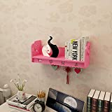 YGXR Bücherregal Kinder Wand, Wandregal 1er Set Regale, U-Form Holzregal Bücherregal Hängeregal Regalsysteme, Wandboard Regal für Büroregal Raumteiler Holzregal (50 * 20 * 20cm), Pink