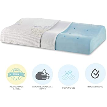 "The White Willow Cervical Orthopedic Memory Foam Cooling Gel Queen Size Contour Neck Support Sleeping Bed Pillow with Removable Cover (23"" L x 14"" W x 4"" H) -Multi"