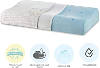 """The White Willow Cervical Orthopedic Memory Foam Cooling Gel Queen Size Contour Neck Support Sleeping Bed Pillow with Removable Cover (23"""" L x 14"""" W x 4"""" H) -Multi"""