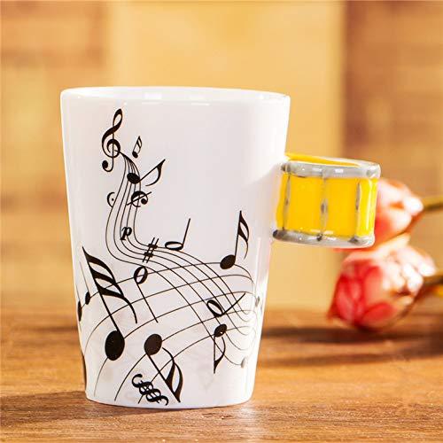 Keramische elektrische Gitaar Mok ins Melk Cup Muzikaal Instrument Note Cup Water Cup Koffie Cup Muziek Cup 201-300ml Geel Snare Gratis