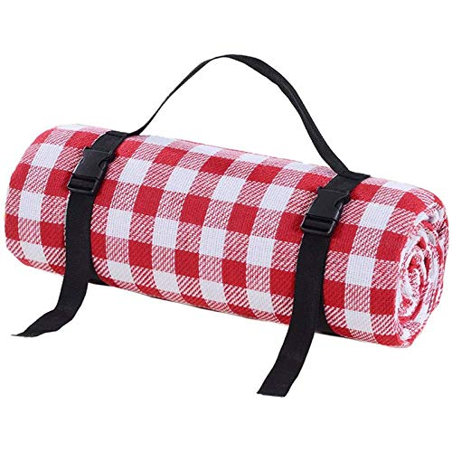 Aiiwqk Picknickkleed, buitentapijt, vloermat, rood en wit rooster 200 150cm groot formaat, geschikt voor voorjaarsreizen en kamperen