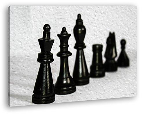 deyoli Schwarze Schachfiguren Effekt: Zeichnung im Format: 120x80 als Leinwandbild, Motiv fertig gerahmt auf Echtholzrahmen, Hochwertiger Digitaldruck mit Rahmen, Kein Poster oder Plakat