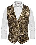Mens Paisley Jacquard Dress Vest Notched Lapel Slim Fit Tuxedo Waistcoat Gold S
