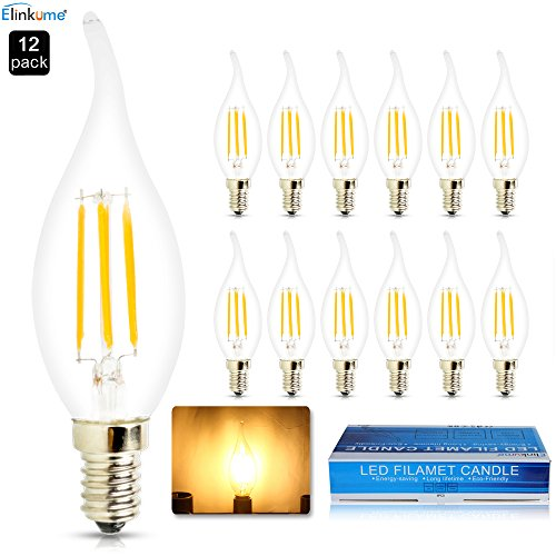 ELINKUME 12x Lampadina Candela LED a forma di Fiamma da (Attacco E14, 4Watt, 360 Lumen, Classe Efficienza Energetica A+, Colore Della Luce Bianco Caldo)