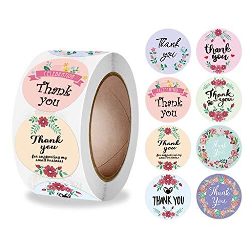 FOLODA 500 plantillas de troquelado, etiquetas redondas de flores, agradecimiento para envolver dulces, cajas de regalo, bolsas de boda, pegatinas de agradecimiento