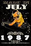 Made In July 1987-Limited Edition Notebook: Cat On DJ Playing Music With Disco Light Compostion, July Planner: Funny Kitty Cat Dj And Disco Lights Journal-July Planner