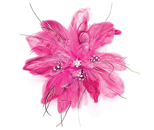Lillian Rose Feather Hair Clip, 6-inch, Hot Pink