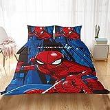 Spiderman - Parure de Lit Enfant Marvel,garçons Housse de Couette+Taie d'oreiller, Microfibre, multicolore,réversible Couette double,2/3 pièces (K,220X240CM)