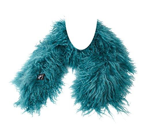 Tibet Lammfell Schal Boa Stola (100% Tibetlammfell Qualität) Farbe turquoise/türkis JAY102 Boa-140