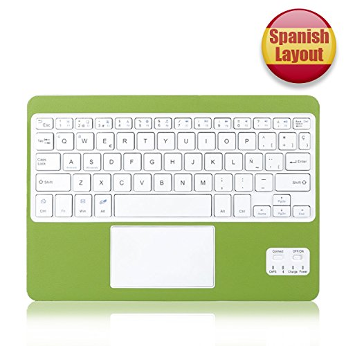 CoastaCloud - tastiera QWERTY sottile, layout spagnolo, con bluetooth e funzione multi-touchpad, batteria ricaricabile, compatibile con qualsiasi tablet Windows/Android/OS