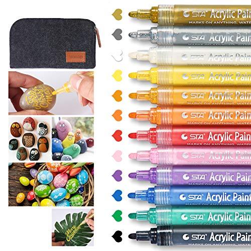 Wanap PebblePaintingPens, 2-3mm AcyrillicPaintPens Set of 12 Colors, Premium Quickdrying Acrylic PensforRockPainting Wood Fabric Ceramic Porcelain Scrapbook - with Felt Pen Bag