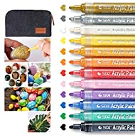 Wanap Pebble Painting Pens, 2-3mm Acyrillic Paint Pens Set of 12 Colors, Premium Quickdrying Acrylic Pens for Rock Painting Wood Fabric Ceramic Porcelain Scrapbook - with Felt Pen Bag