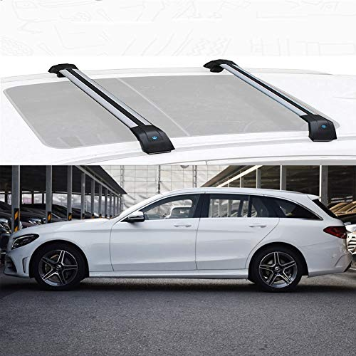 Estante de azotea del coche, compatible con Mercedes-Benz Clase C Estate aleación de aluminio de barras de techo de la barra cruzada por carretera barras portadoras Compatible con Mercedes-Benz Clase
