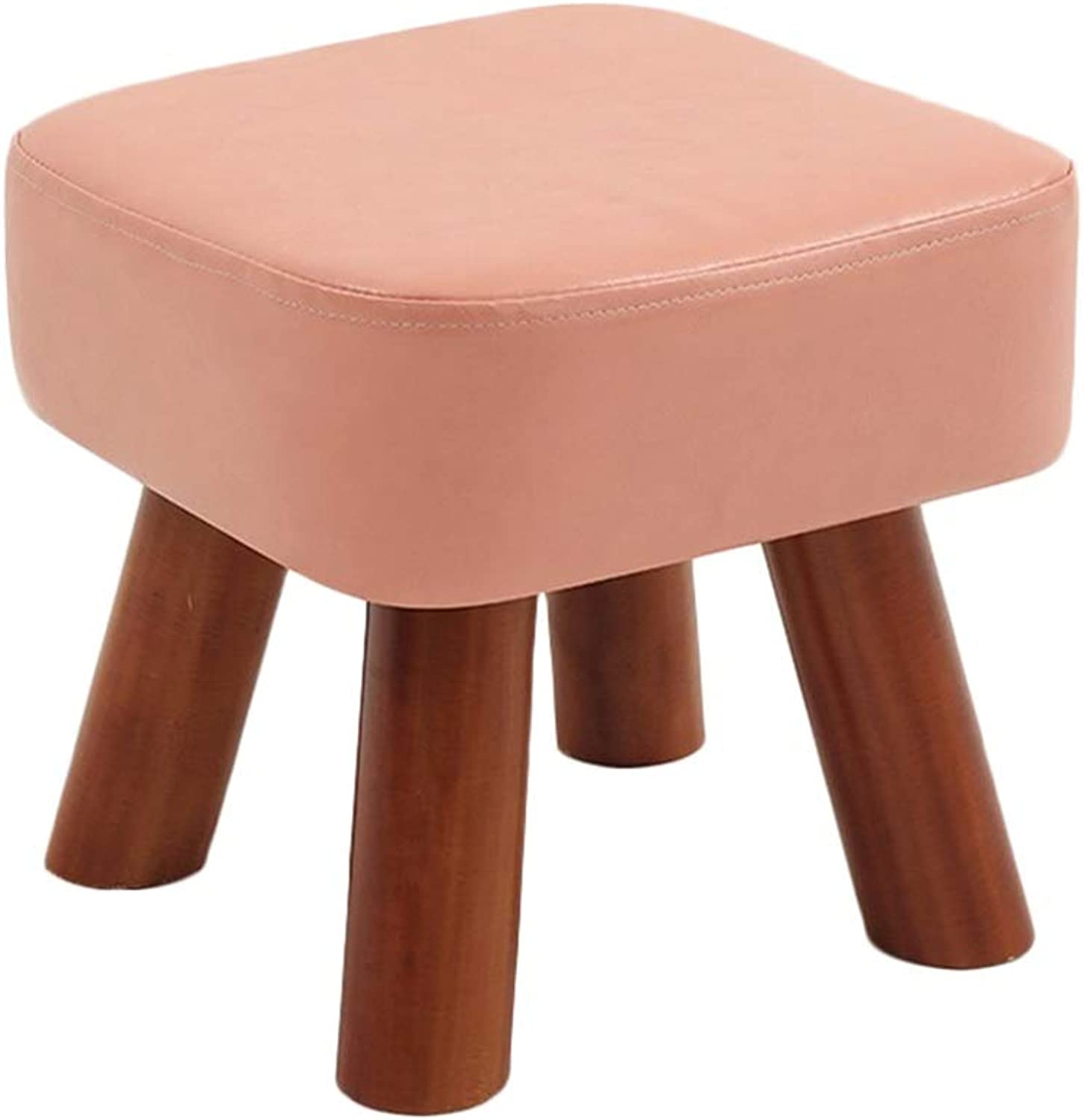 AGLZWY Footstool Sofa Stool Multipurpose Solid Wood Frame PU Leather Breathable Non-Slip Portable Square Creative Living Room Change shoes Bench Tea Table,Multiple Colour