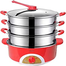 WZHZJ 304 Stainless Steel Slow Cooker Food Steamer Pot Food Warmer Electric Steamer Food Warmer Commercial (Color : Red)