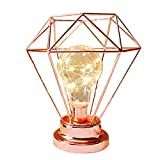 Diamond Table Lamp,WONFAST Copper Metal Cage Shade Geometry Battery Powered Edison Bulb Bedside Desk Lamp Ambient Night Light for Home Bedroom Living Christmas Wedding Decoration (Rose Gold)