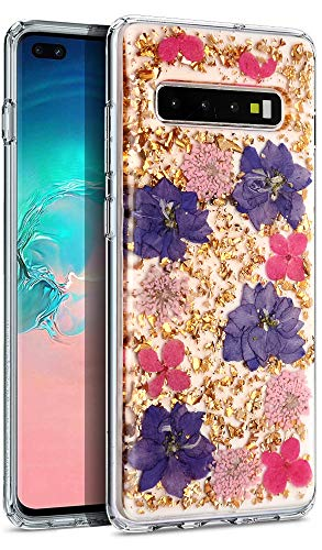 Aokebr Real Flowers Case for Samsung Galaxy S10 6.1' Pressed Dry Petals Glitter Bling Glitter Sparkle Thin TPU Soft Clear Flexible Rubber for Girl Women SamsungS10 GalaxyS10 (Purple)