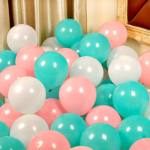 AnnoDeel 50 Pcs 12inch Pink and Mint Green Balloons, 3 Color Mint Green and light Pink White Balloons for Birthday Wedding Baby Party Decorations Supply