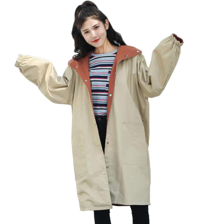[えみり] レディース スプリングコート ジャンパー 春 ロング丈 プリント リバーシブル ジャケット ゆったり 大きいサイズ パーカー 双面着 BF風 リブー袖 コットン 韓国風