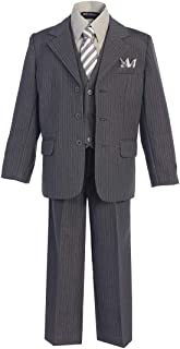 iGirldress Little Boys Polished Pinstripe Suit with Coordinated Tie /& Handkercheif