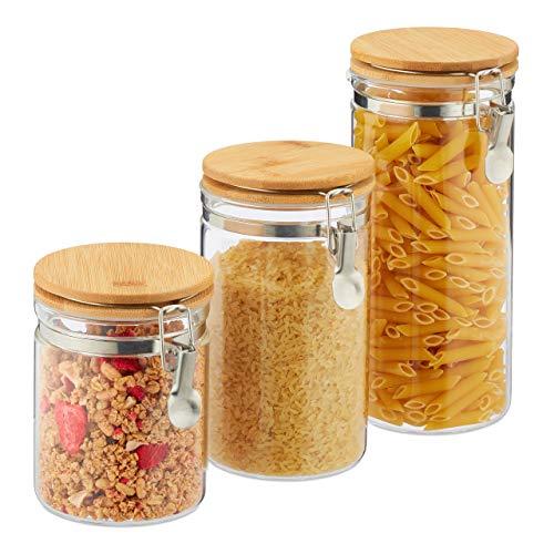 Relaxdays Vorratsgläser, 3er Set, Glas & Bambus, Bügelgläser für Küche, luftdicht, Volumen 1,5l, 1l, 750ml, transparent
