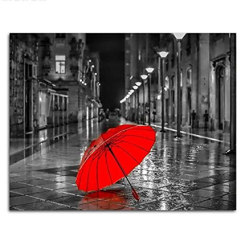 AZYVv Rompecabezas De Madera DIY Rompecabezas De 1000 Piezas Calle Paraguas Rojo Blanco Y Negro Realista Street Art Juego De Decoración del Hogar