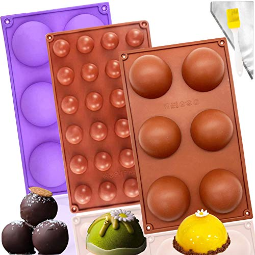 3Pcs Semi Sphere Silicone Mold for Chocolate,Round Silicone Mold for Baking Making Hot Chocolate Bombs,Cakes,Mousse Bread Baking DIY