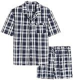 Latuza Men's Cotton Woven Short Sleepwear Pajama Set XL Navy & White