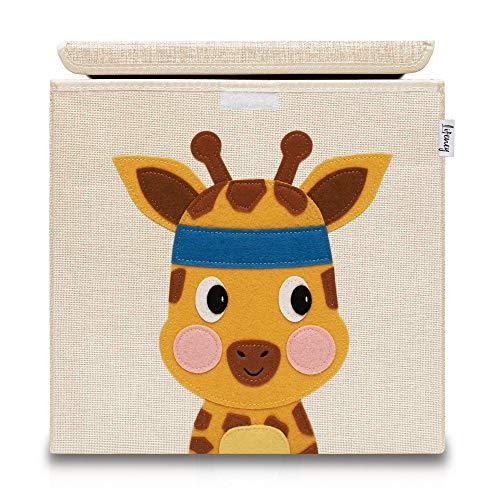 Lifeney Aufbewahrungsbox Kinder mit Deckel I Niedliche Spielzeugkiste I Aufbewahrungsboxen für Kinderzimmer I Faltbox für Spielzeugaufbewahrung I Aufbewahrungskorb Kinder (Beige Giraffe)