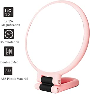 15x Magnifying Handheld Mirror,Travel Folding Hand Held Mirror,Double Sided Pedestal Makeup Mirror with 1/15x Magnification
