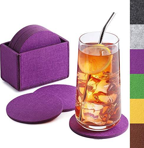 Sidorenko Filz Untersetzer rund für Gläser - 10er Set Ink. Box - Design Glasuntersetzer in violett/lila für Getränke, Tassen, Bar, Glas - Premium Tischuntersetzer Filzuntersetzer