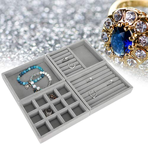 Organizador de bandejas de joyería de 4 piezas, almacenamiento de exhibición de joyería multipropósito y organizador para aretes, collar, pulsera, anillo, soporte de exhibición de joyería, bandeja de