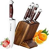 Emojoy Messerblock Set, Messerset, 6-TLG Messer Set mit Block, Kochmesser, Messerhalter, Küchenmesser aus martenstischem Edelstahl, bestückte Holzblock