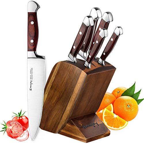 Emojoy Set Coltelli, Set di Coltelli da Cucina 6 Pezzi, Coltello Cucina Professionali con Ceppo Coltelli, Acciaio Inossidabile coltelli Cucina Set