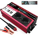 Inverter di Potenza, 600W Inverter per Auto, Convertitore da 12V a 220V con 2 Presa AC 4 Porte USB 4.8A, Power Inverter Trasformatore Auto 12v 220v LCD Display - Carica Laptop, iPad, iPhone, Tablet