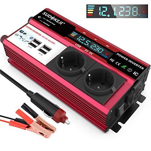Convertisseur 12V 220V 230v Onduleur 600W Convertisseur de Courant 12 à 230 Transformateur de Courant avec 2 Prises UE et 4 Ports USB avec Attaches de Batterie de Voiture et Chargeur de Voiture