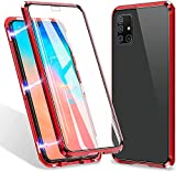 Samsung Galaxy A71 Case,ZHIKE Magnetic Metal Frame Front and Back Tempered Glass Full Screen Coverage One-Piece Flip Gradient Color Cover Anti-Slip Design [Support Wireless Charging] (Red)
