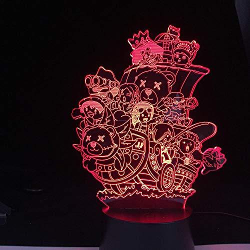 Luz De Ilusión 3D Luz De Noche Led Que Cambia De Color Personajes De Anime De Una Pieza Otaku Regalo De Navidad Dormitorio Oficina Mesita De Noche Lámpara Para Niños