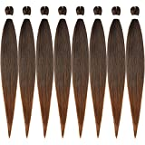 Pre-stretched Braiding Hair Extension Ombre Natural Black Brown Professional Crochet Braiding Hair 30 Inch 8 Packs Hot Water Setting Perm Yaki Synthetic Hair for Twist Braids (30in,1B/30)