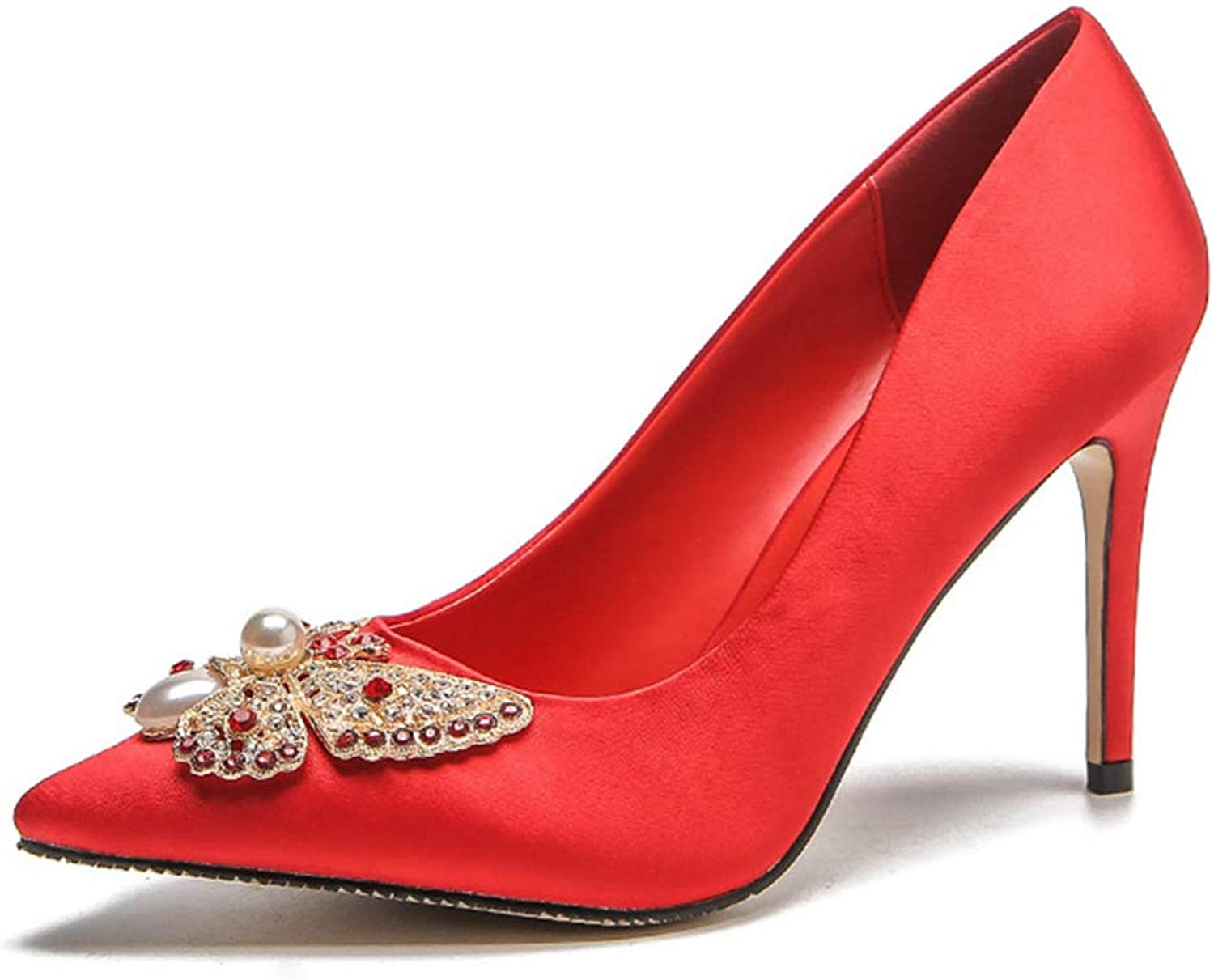 Sam Carle Womens Red Pumps,Pointed Toe High Thin Heel Spring Sexy Slim Wedding Party Pumps