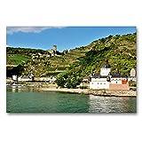 CALVENDO Premium Textil-Leinwand 90 x 60 cm Quer-Format Burg Pfalzgrafenstein, Kaub, Leinwanddruck von JF-Fotografie