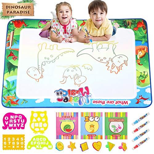 Gxi Wasser Doodle Matte für Kinder Aqua Magic Doodle Malmatte Groß 120x80cm Wasser Zeichnen Matte Mit Wasserstift Zeichenheft Stempe Jungen und Mädchen